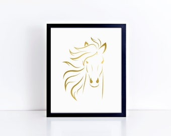 "Wall Art ""Portrait of a Horse""  - Foil Prints, Home Decor & Gift Prints,  8x10"