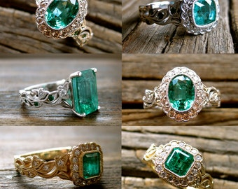 Order Your Emerald Vine Engagement Ring with Diamonds - For Deposit Only