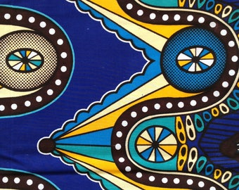 African fabric by the yard, African wax print, Retro style print fabric, yardage sewing dressmaking projects