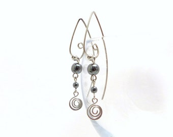 Earrings big hooks volute, hematite and surgical steel (GC15)
