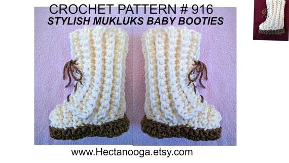 Crochet Pattern Booties Stylish Mukluks 3 Sizes Newborn 12