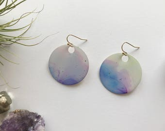"Cotton Candy Skyline 1.5"" Round Statement Earrings"