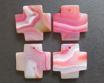 AS PICTURED- 4pcs Large Light Pink Stripe Agate Cross Pendant 42x42mm- top drilled