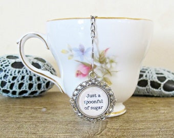 Mary Poppins Tea Infuser Strainer - Quote Just A Spoonful Of Sugar - Foodie Gift Heart Homewares Kitchen Afternoon - Silver Bookworm Bookish