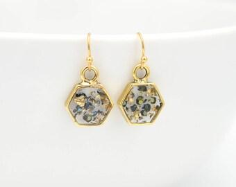 Crushed Gemstone Gold Flake Earrings • Blue Gold Resin Earrings • Geometric Hexagon Earrings • Boho Earrings • Gold Drop Resin Earrings