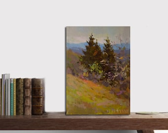 Small oil painting canvas art, Mountain painting trees, Small landscape painting, Impressionist painting, Nature artwork forest art