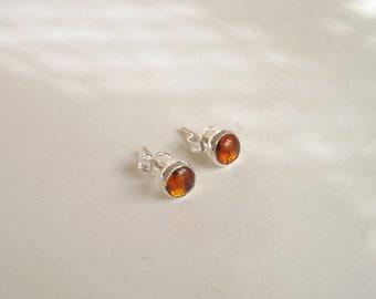 Amber sterling silver earring stud,amber cabochon,boho,vintage ,σκουλαρίκια,minimal