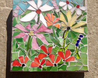 Stained Glass Mosaic Wall Art; Sale! Nature Flower Art, flower wall art, home decor, mosaic, mosaics, glass art, garden art, glass mosaics