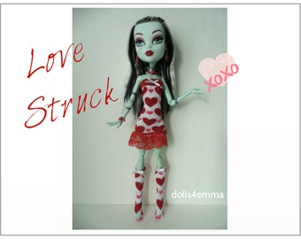 "OOAK Monster High 17"" Doll Clothes - Dress + Socks and Jewelry - Handmade custom fashion by dolls4emma"