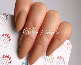 Stiletto, Matte, Moca Brown, Hand Painted Nail Tips / Press On / Stick On / Fake Nails - 12 pcs or 20 pcs