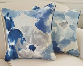 Available in 2 Colors - Robert Allen Aptura Floral Dew Indoor Decorative Pillow Cover with Zipper and Solid color Linen/Cotton blend backing