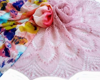Light pink knitted shawl Beaded mohair lace shawl Sparkle scarves wraps Evening triangular knit shawl  Prom party scarf Gift for girlfriend