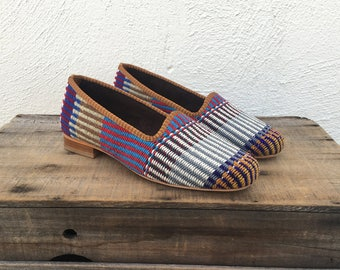 Woven Wool Kilim Loafers Driving Shoes Moccasins Flats Slippers Hippy Boho Stripe Wool Ethnic Size 37 (US 6.5-7)