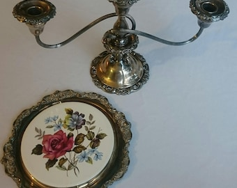 Baroque Candelabra & Plate By Wallace
