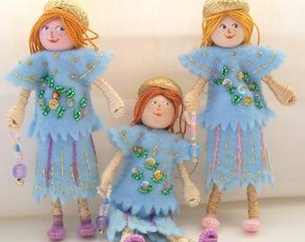 Handmade Felt Doll, Piksee Twins Blue Skies Felt Doll Arts and Miniatures Spring Ornaments