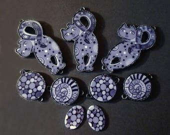 Grey, purple, black glass and metal spacer cats and pendants