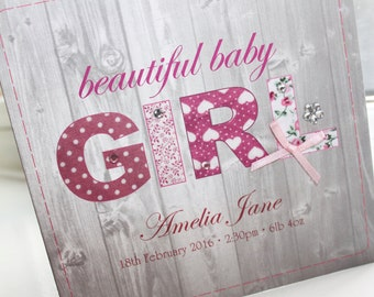 Personalised Handmade New Baby Girl Card by Charlotte Elisabeth NB003