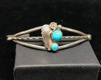 Vintage Old Pawn Navajo Sterling Silver Squash Bracelet with Turquoise MARKED