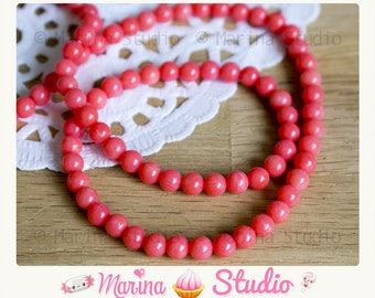 10 natural coral beads 5mm - precious pearls salmon pink color