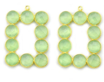Green Chalcedony Bezel Component, Gold Plated Connector, Bezel Setting, 24k Gold Plated, Boho Jewelry Supply, GemMartUSA (GPGC-13009)