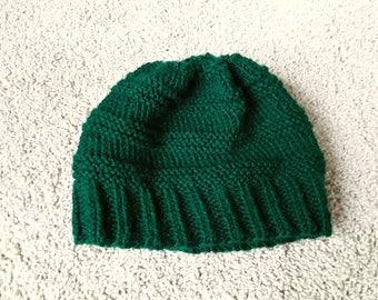 Dark Green Knit Beanie Hat