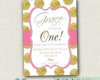 Gold Polka Dot Birthday Invitation - Pink and Gold First Birthday Invitation - Girl Pink and Gold Invitation - Polka Dot Invitation