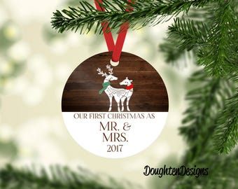 Couple First Christmas Ornament, Personalized Christmas Ornaments, Deer Ornament, First Christmas Gift, Aluminum Ornament, Mr & Mrs Ornament