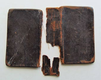 1827 Very Small Antique Leather Book Covers And Blank Paper