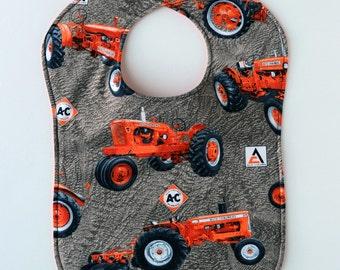 Allis Chalmers Tractor Baby Bib, Reversible, Tractors and Logo