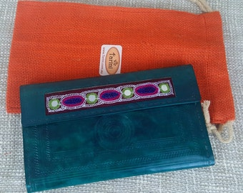Handmade genuine leather clutch sea green # credit card wallet for women # Monedero de Mujer # iPhone wallet # Christmas gift