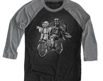 Yoda Shirt - Womens Star Wars Shirt -Darth Vader and Yoda Riding a Bike Hand Screen printed on a Unisex Baseball Tee
