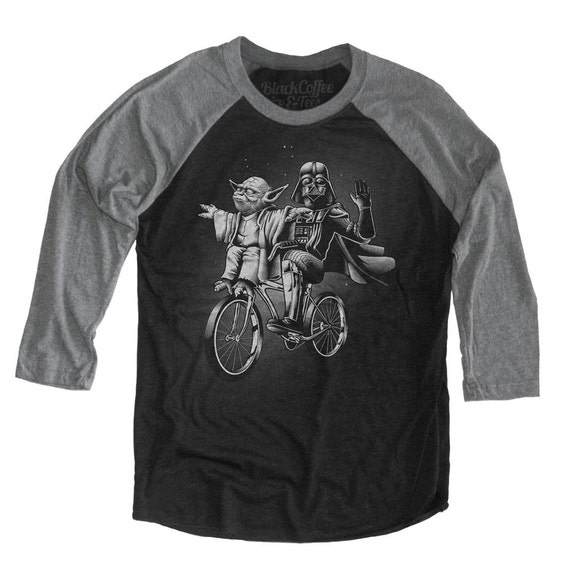 Yoda Shirt - Womens Star Wars Shirt -Darth Vader and Yoda Riding a Bike Hand Screen printed on a Unisex Baseball Tee