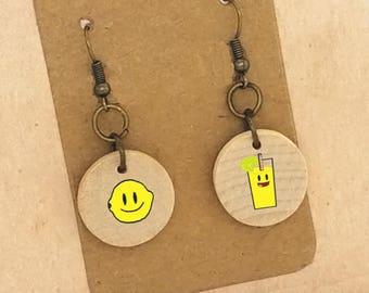 Life Gives You Lemons Earrings Make Lemonade Earrings Wood Earrings Bronze Dangle Earrings Clip On Earrings Hard Time Encouragement Gift