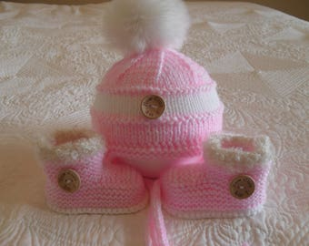 Knitted  Baby Girl Hat And Booties, Baby Girl Fur Pom Pom Hat and Boots, Size 6 to 9 Months Ready Made