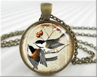 Chickadee Art Necklace Chickadee Pendant Bird Pair Picture Charm Bird Lover Gift Round Bronze Bird Watcher Gift (041RB)
