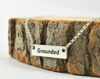 Inspiration Bar Necklace Sterling Silver, Grounded Necklace,  Affirmation Necklace, Mantra Necklace, Inspirational Jewelry