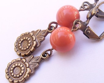Coral Swarovski Pearl and Antique Brass Earrings on Leverbacks. Flower. Floral. Drop.
