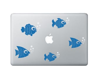 Little Fishies Laptop Decal - Set of 5 - Fish Macbook Stickers