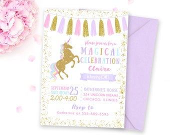 Unicorn Birthday Invitation, Unicorn Invitation, Unicorn Party Invitation, Magical Birthday Invitation, Unicorn Birthday Party Invitation