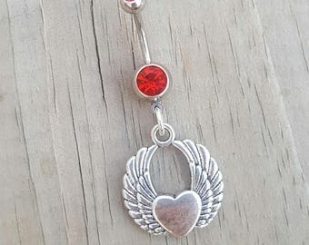 Heart Angel Wings  Belly Button Ring, Heart Navel Ring, Belly Button Jewelry, Body Jewelry, Love Belly Ring, 14g Barbell, Belly Piercing.