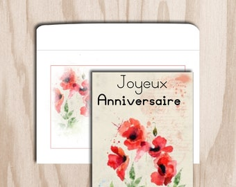 Birthday card and envelope is a digital print - digital watercolor poppy flower