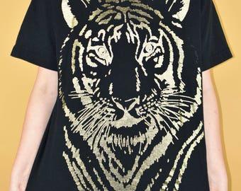 90s Tiger Shirt Vtg Vintage Gold Graphic Tee Grunge Hip Hop