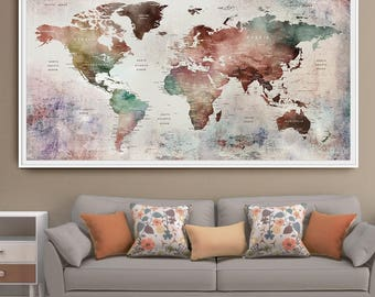 World map pastel etsy world map print watercolor travel map large world map world map watercolor pastel gumiabroncs Image collections