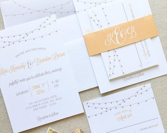 String Lights Wedding Invitation - Barn Wedding Invitation - Vineyard Wedding - Outdoor Wedding
