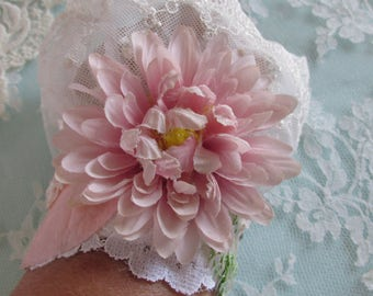 Flower Lace Cuff Beaded Lace Cuff Ivory Bridal Lace Cuff Shabby Dress Blush Pink Bohemian Style Cuff