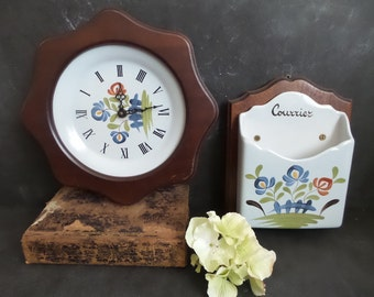 Rustic wall clock hand painted ceramic from Quimper Britanny with matching  Mail Holder . Quimper