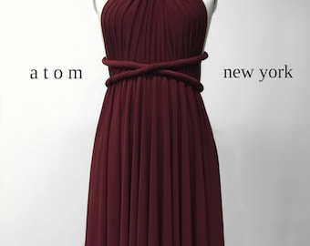 Burgundy Wine Red SHORT Infinity Dress Convertible Formal Multiway Wrap Bridesmaid Dress Cocktail Evening Dress Christmas Party Wedding