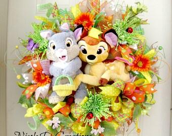 Easter Wreath -Deco Mesh Wreath- Front Door Wreaths- Spring Wreath- Bambi Wreath- Disney Wreath
