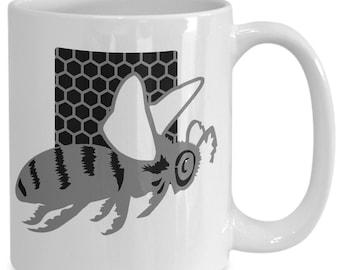 Bee Honeycomb Mug - Beekeeper Gift - 11oz and 15oz Ceramic Cup for Coffee Tea Hot Chocolate. Drinks