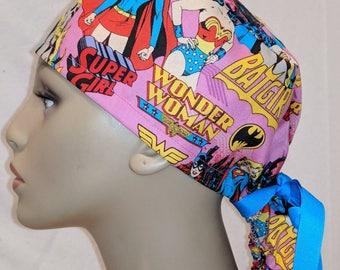 Wonder woman, Batgirl, Supergirl ponytail scrub hat